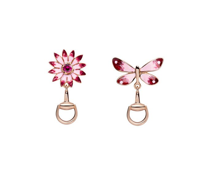 Gucci - Earrings in pink gold 18 K, enamel and ruby