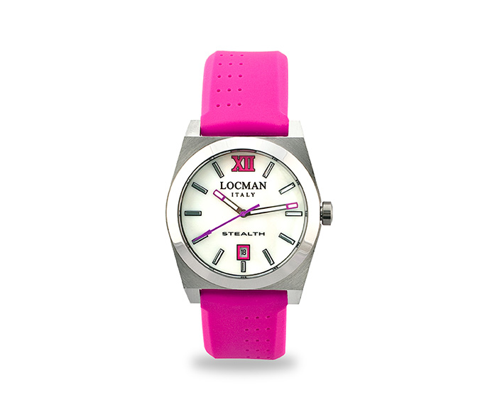LOCMAN - Stealth Solo Tempo, Quartz, Steel and Titanium case, Fuchsia