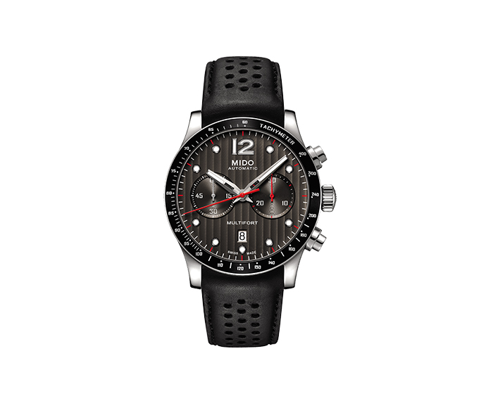 MIDO - Multifort Chronograph steel black leather strap