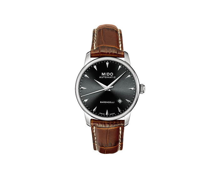 MIDO - Baroncelli Gent steel black dial leather strap