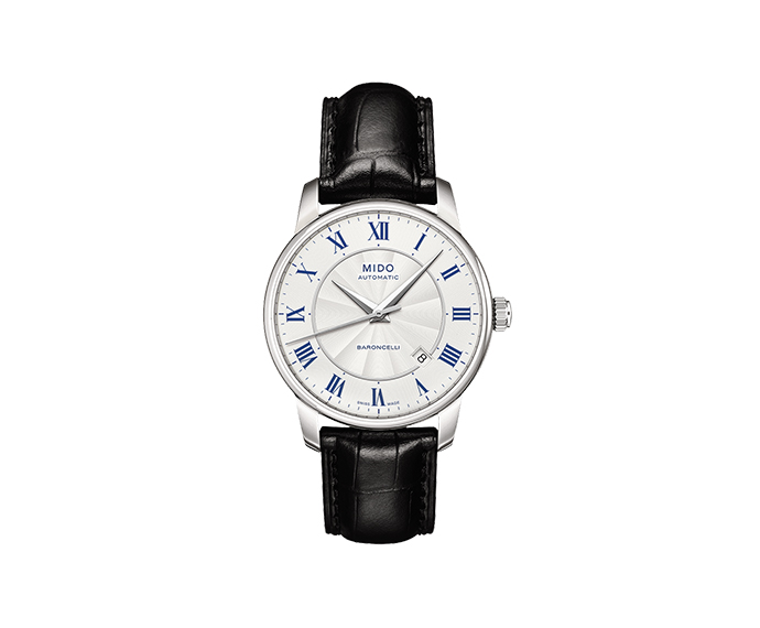 MIDO - Baroncelli Gent steel blue roman numbers strap