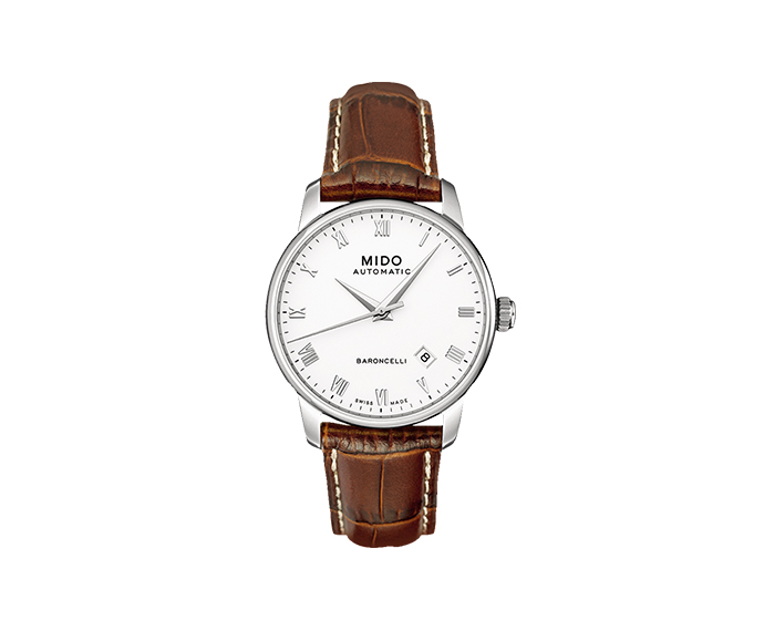 MIDO - Baroncelli II steel silver dial brown leather strap