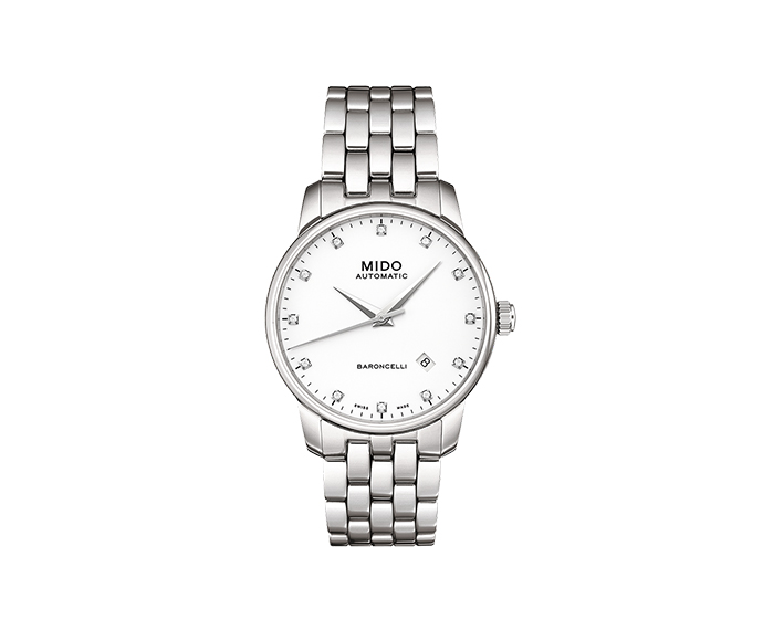 MIDO - Baroncelli Gent steel indexes diamond white dial
