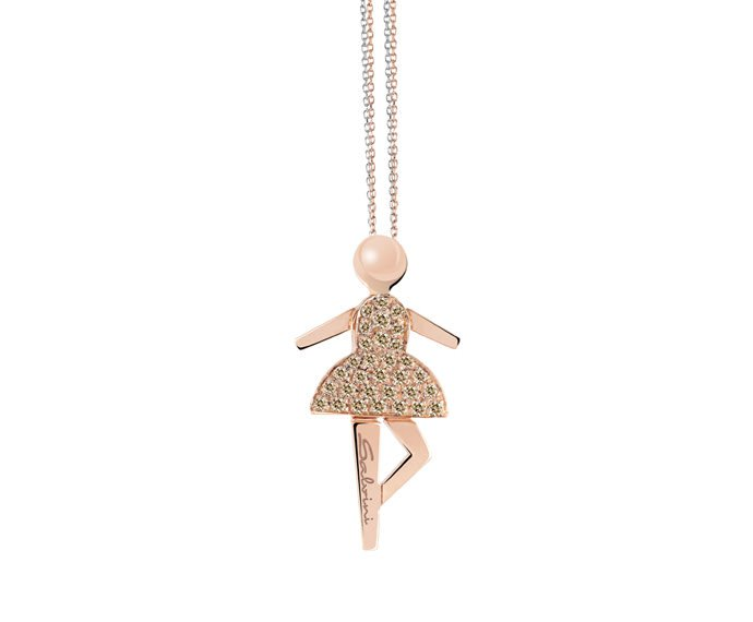 SALVINI - Necklace in pink gold and brown diamonds