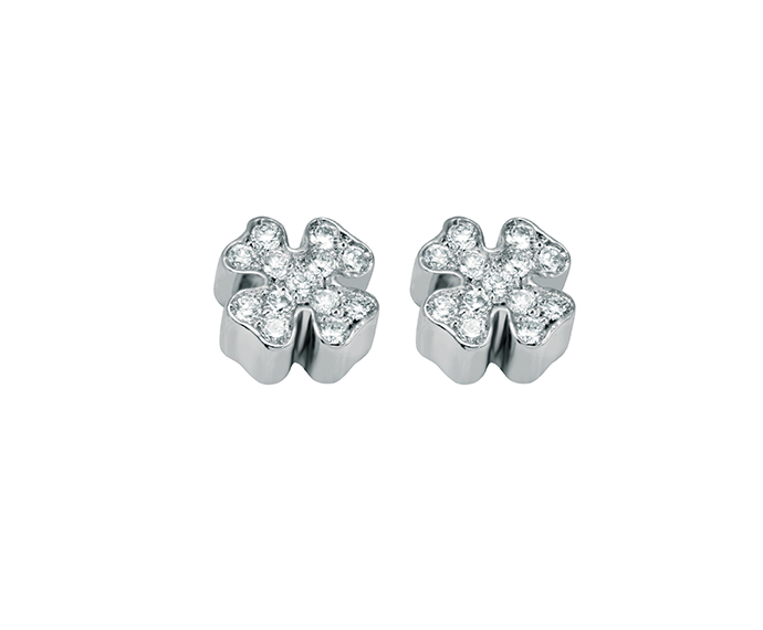 SALVINI - Earrings four-leaf in white gold with diamonds