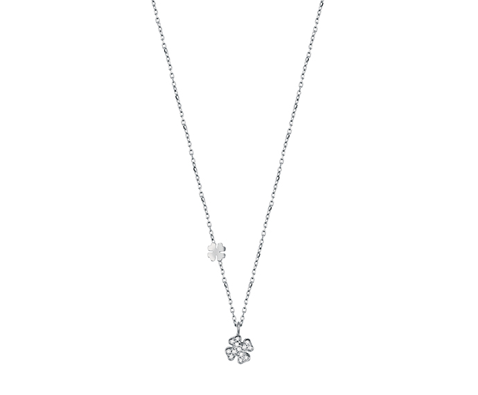 SALVINI - Necklace four-leaf in white gold with diamonds