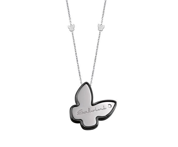 SALVINI - Necklace in black ceramic, white gold 9 KT and diamond