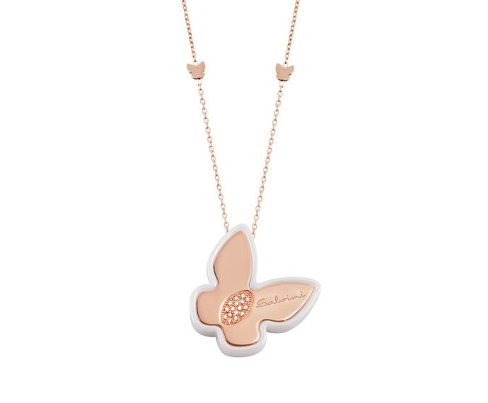 SALVINI - Necklace in white ceramic, pink gold 9 KT and diamonds