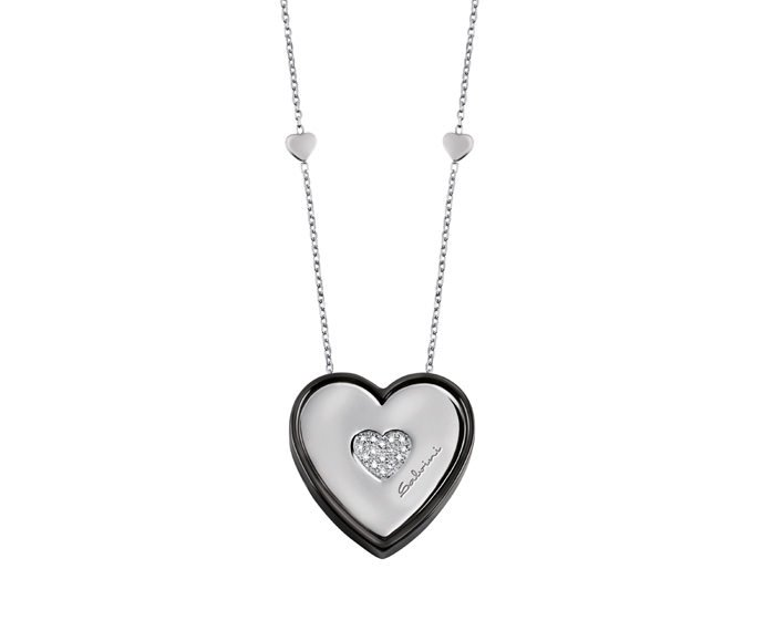 SALVINI - Necklace in black ceramic, white gold 9 KT and diamonds