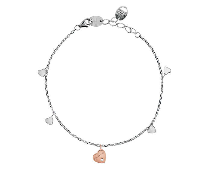 SALVINI - Bracelet heart in pink and white gold with diamond