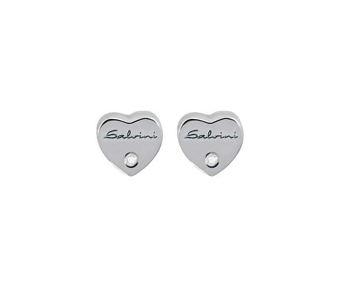 SALVINI - Earrings heart in white gold with diamonds