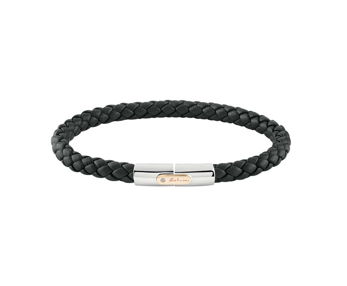 SALVINI - Bracelet in black leather whit silver and pink gold 9 KT