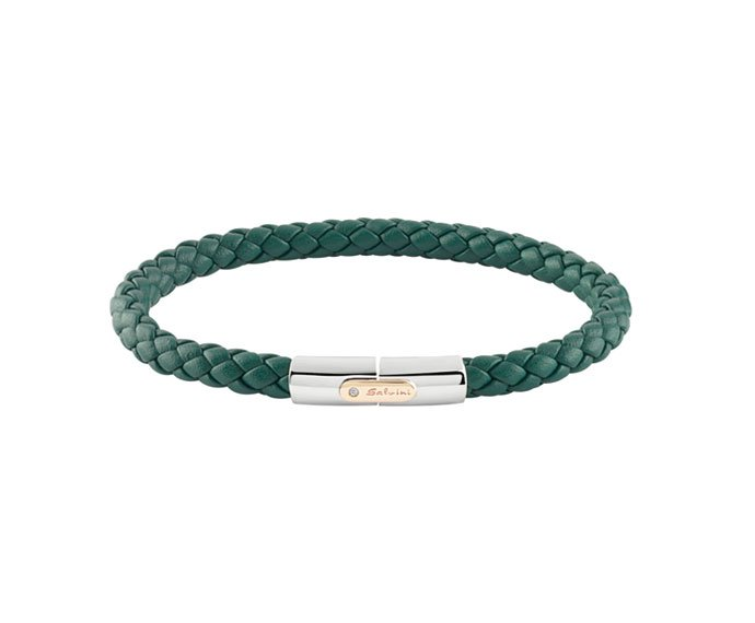 Salvini - Bracelet in green leather whit silver and pink gold 9 KT