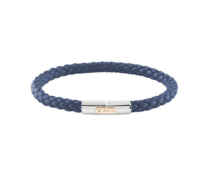SALVINI - Bracelet in blue leather whit silver and pink gold 9 KT