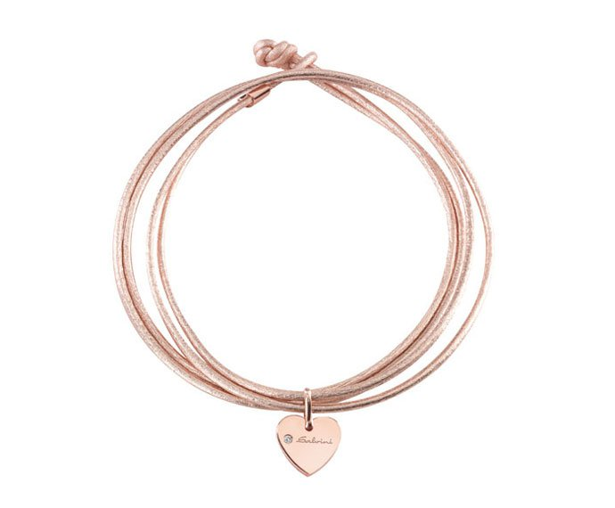 Salvini - Bracelet heart in pink gold 9 KT and wrist strap