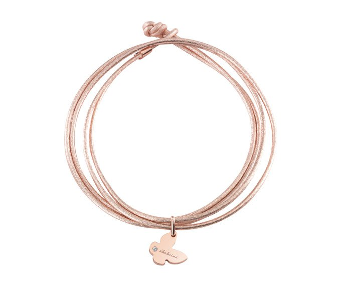 Salvini - Bracelet butterfly in pink gold 9 KT and wrist strap
