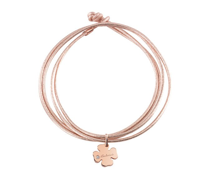 SALVINI - Bracelet four-leaf clover in pink gold 9 KT and wrist strap