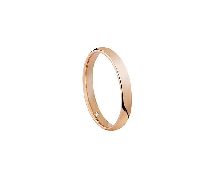 SALVINI - Wedding ring in pink gold with diamond