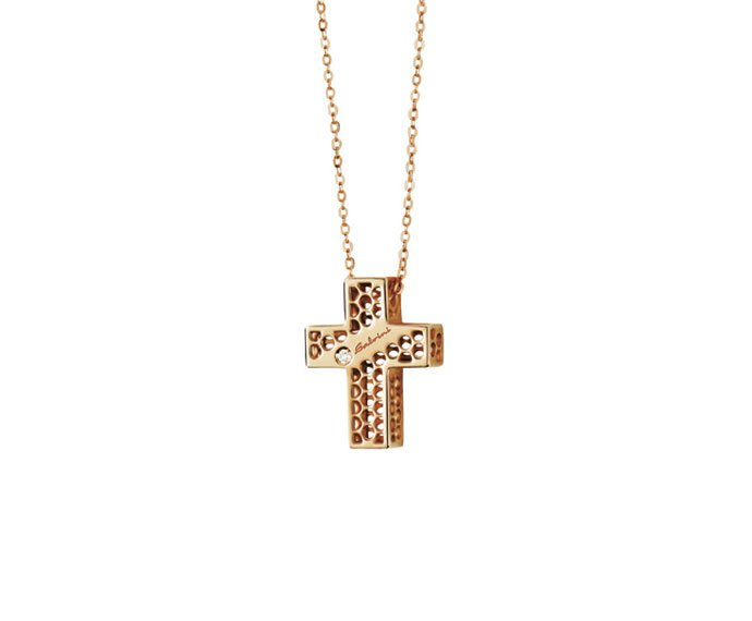 SALVINI - Necklace cross in pink gold 9 KT