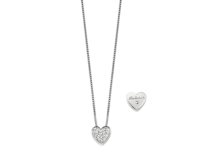 SALVINI - White gold necklace with diamonds. Heart size: Width 9,70mm. Length 9,50. Thickness 2,95mm.