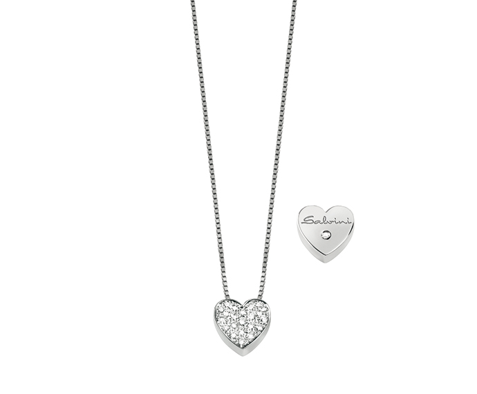 Salvini - White gold necklace with diamonds. Heart size: Width 11,80mm. Length 11,30. Thickness 4,00mm.