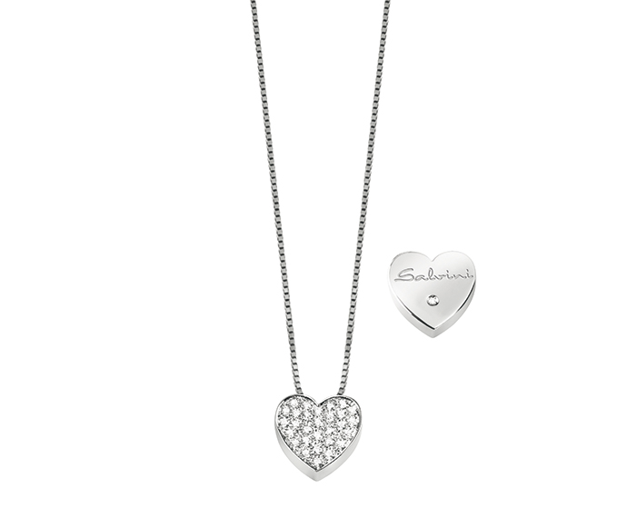 SALVINI - White gold necklace with diamonds. Heart size: Width 13,70mm. Length 13,15. Thickness 4,35mm.