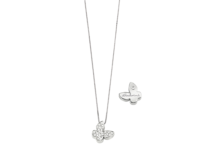 SALVINI - White gold necklace with diamonds. Butterfly size: Width 9,50mm. Length 9,40. Thickness 2,95mm.