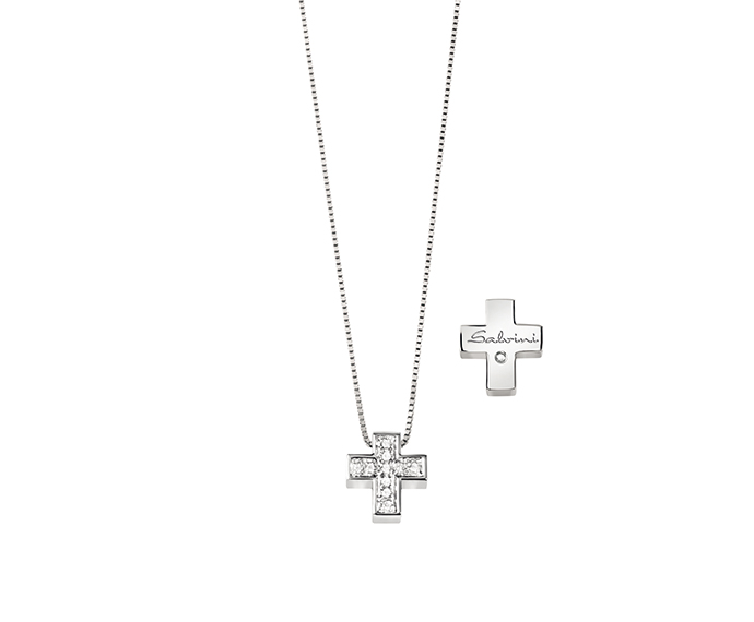 SALVINI - White gold necklace with diamonds. Cross size: Width 10,60mm. Length 11,85. Thickness 2,95mm.
