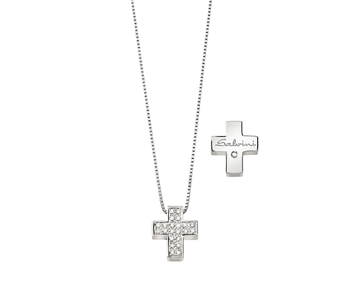 SALVINI - White gold necklace with diamonds. Cross size: Width 11,900mm. Length 13,30. Thickness 4,00mm.