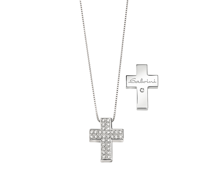 SALVINI - White gold necklace with diamonds. Cross size: Width 15,45mm. Length 19,40. Thickness 4,35mm.
