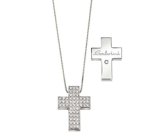 SALVINI - Necklace cross in white gold and diamonds