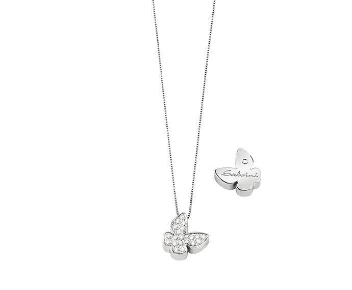 SALVINI - White gold necklace with diamonds. Butterfly size: Width 11,35mm. Length 11,10. Thickness 4,00mm.
