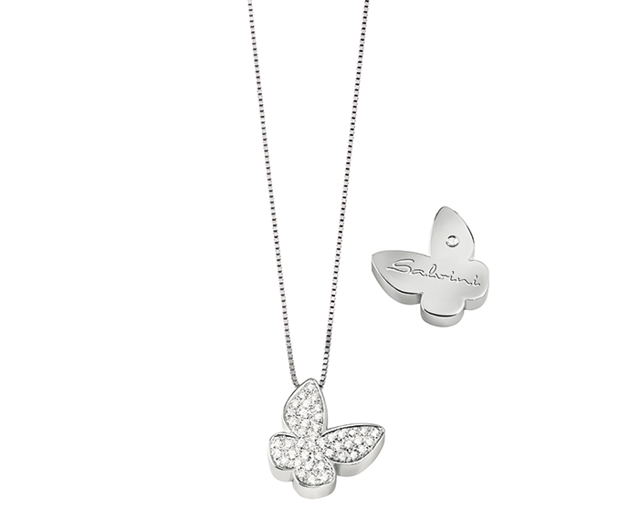 SALVINI - White gold necklace with diamonds. Butterfly size: Width 16,05mm. Length 15,80. Thickness 4,35mm.