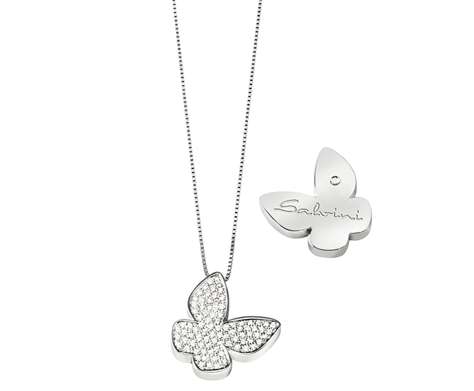 SALVINI - Necklace butterfly in white gold and diamonds