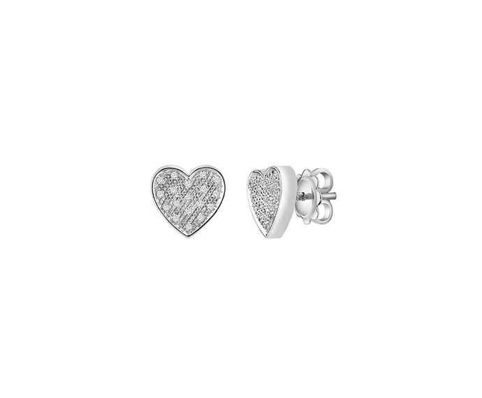 SALVINI - White gold earrings with diamonds. Heart size: Width 9,70mm. Length 9,50. Thickness 2,95mm.
