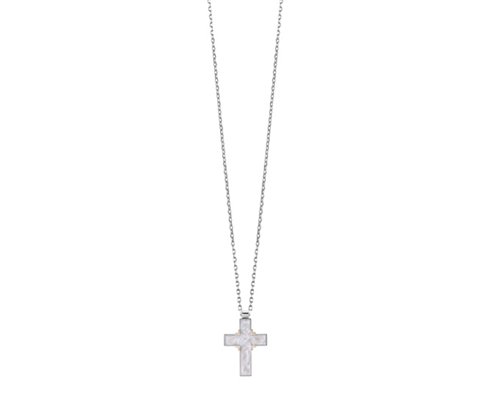 SALVINI - Necklace cross in silver and pink gold with white ceramic