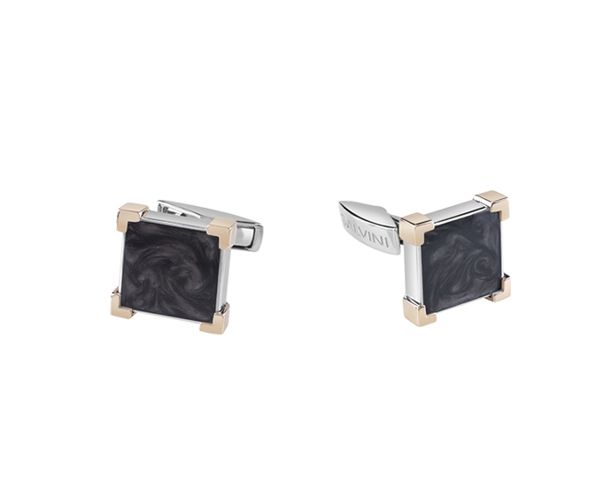 SALVINI - Cufflinks in silver and pink gold with black ceramic