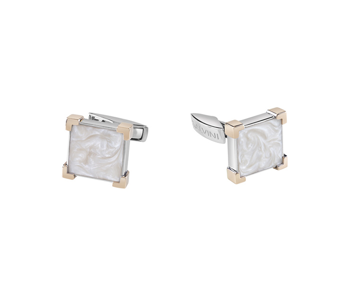SALVINI - Cufflinks in silver and pink gold with white ceramic