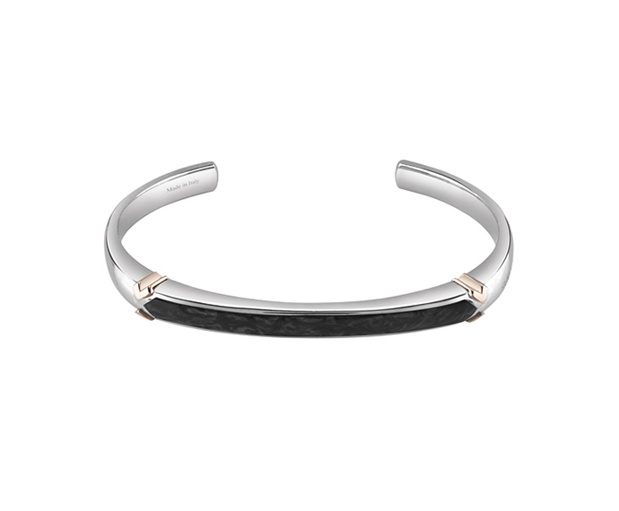 SALVINI - Bracelet in silver and pink gold with black ceramic
