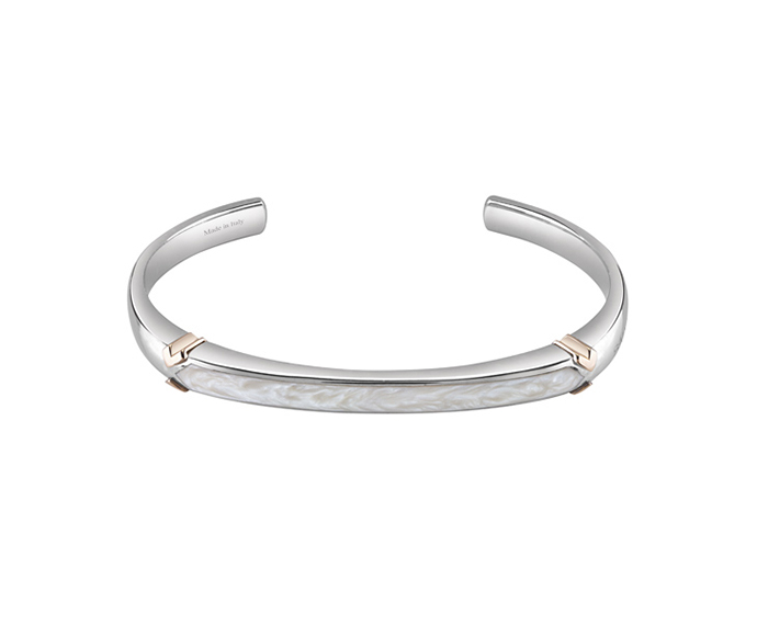 SALVINI - Bracelet in silver and pink gold with white ceramic
