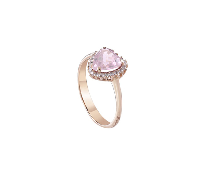 SALVINI - Ring in white gold with diamonds and pink quartz