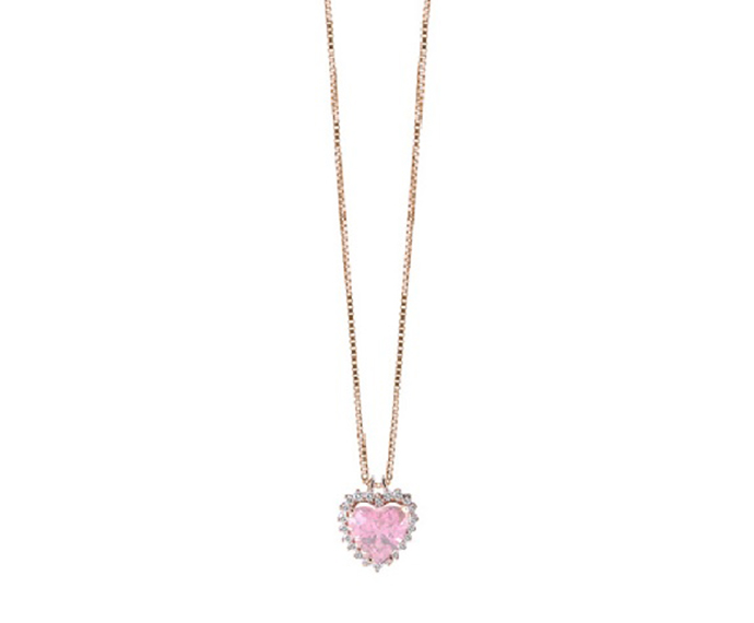 SALVINI - Necklace in white gold with diamonds and pink quartz
