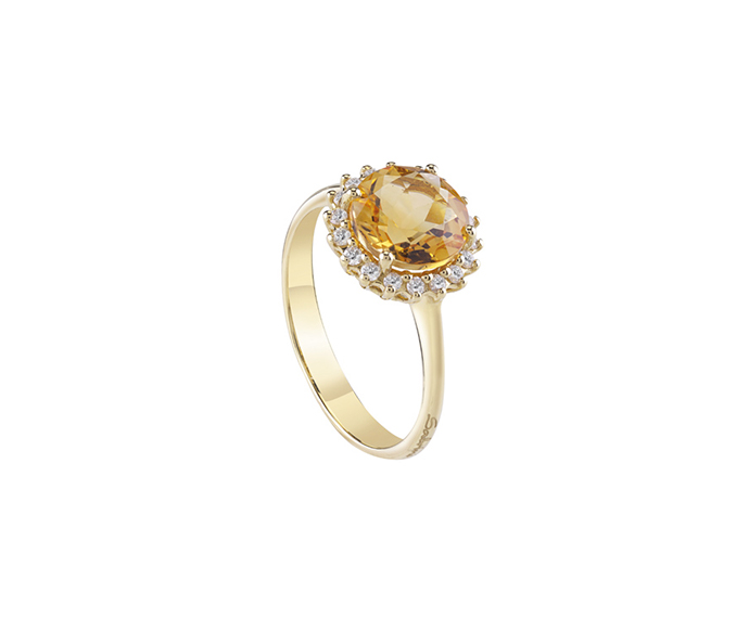 SALVINI - Ring in yellow gold with diamonds and citrine quartz