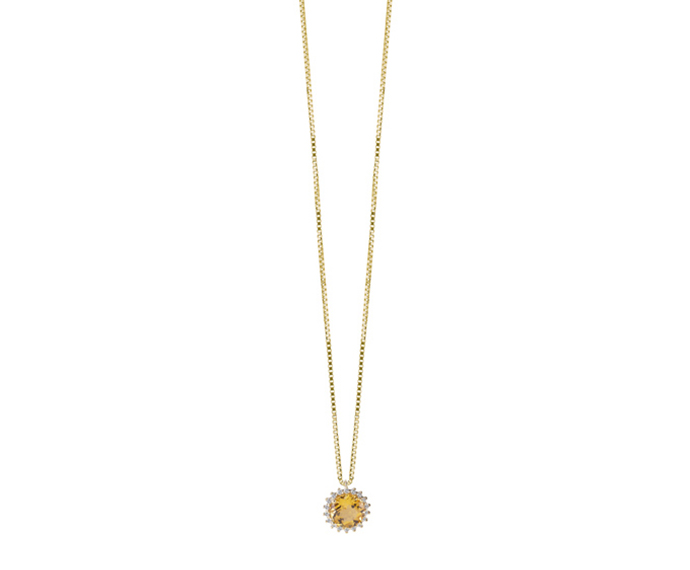 SALVINI - Necklace in yellow gold with diamonds and citrine quartz