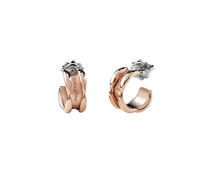 SALVINI - Pink gold earrings with diamonds