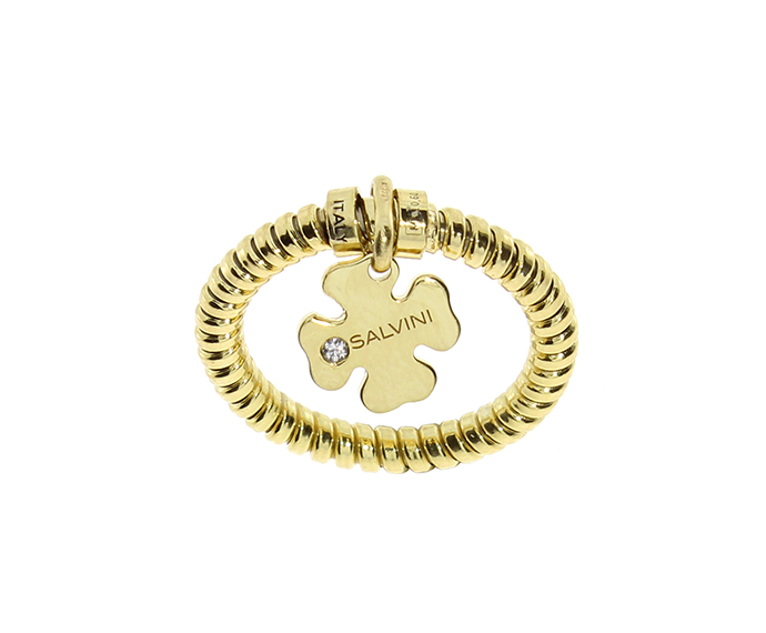 SALVINI - Four-leaf clover bracelet in yellow gold and diamonds