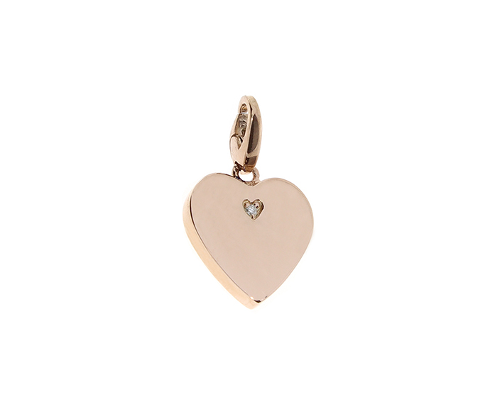 SALVINI - Pink silver heart charm with diamonds