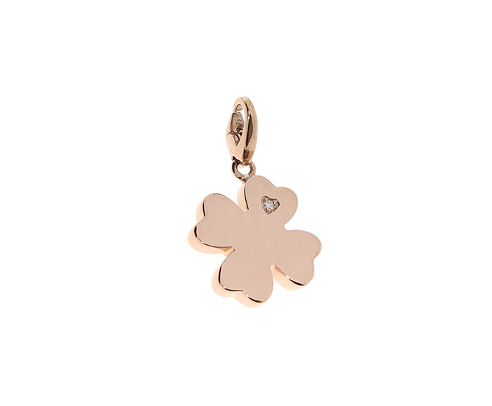 SALVINI - Pink silver four-leaf clover charm with diamonds
