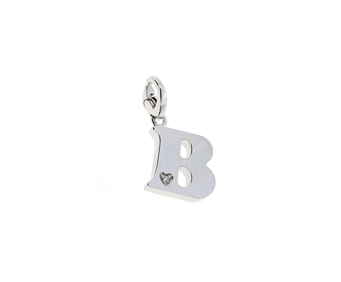 SALVINI - Silver charm with diamonds, Letter B