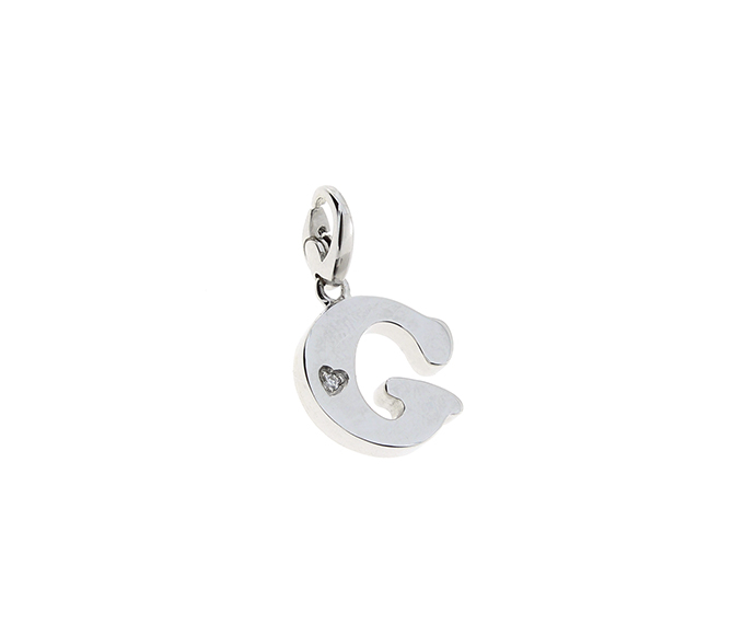 SALVINI - Silver charm with diamonds, Letter G